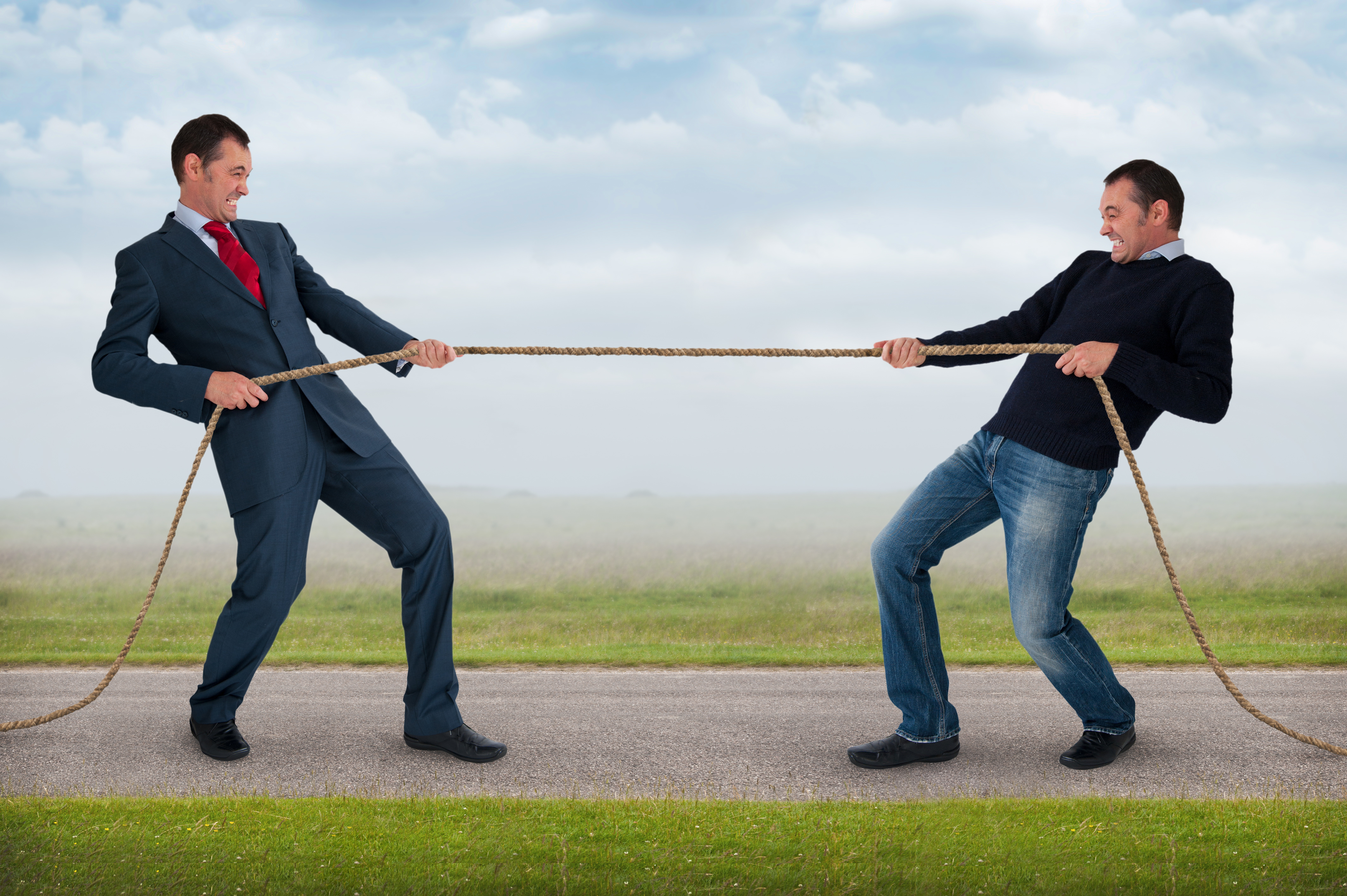 tug of war work life balance conflict concept