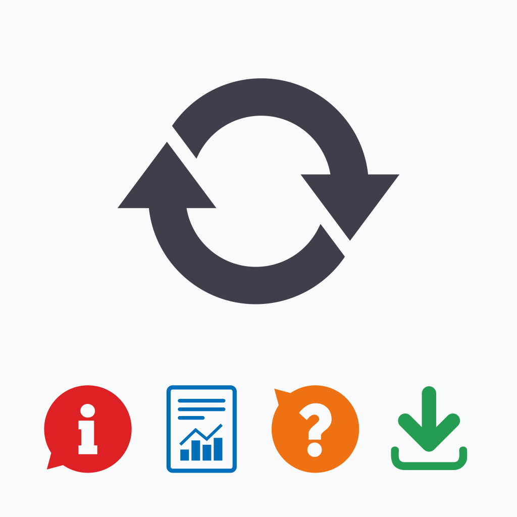 Rotation icon. Repeat symbol. Refresh sign. Information think bubble, question mark, download and report.
