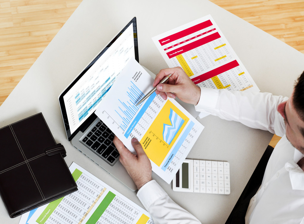 Business man working on financial data