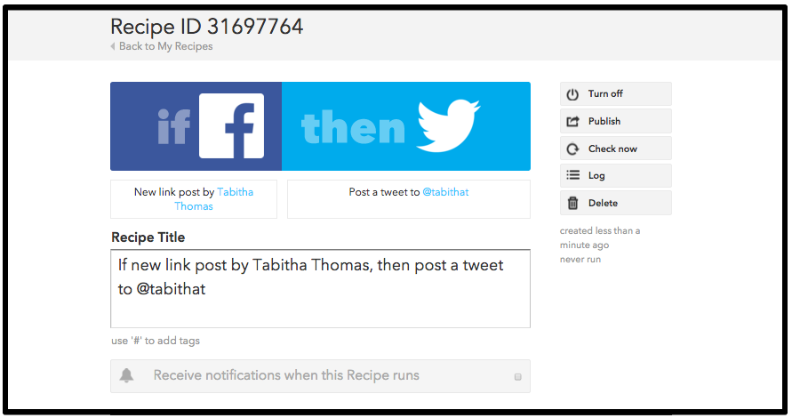 IFTTT Recipe completed