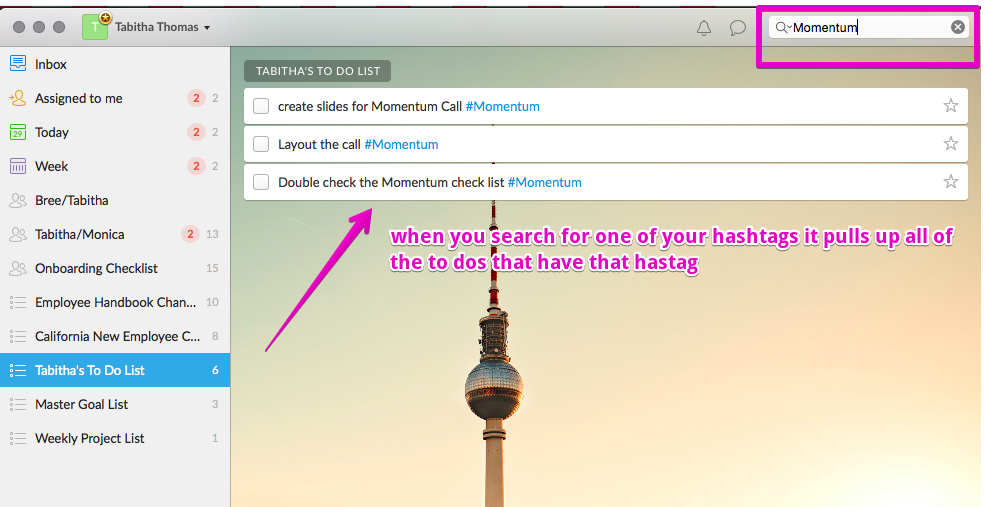 Wunderlist searching hashtags